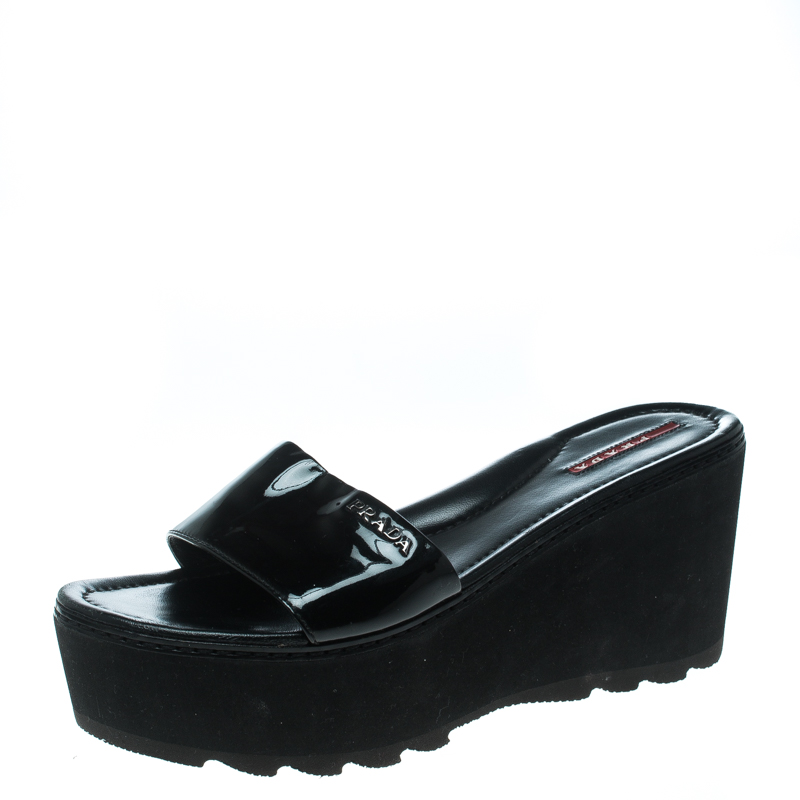 4aa12421732 Buy Prada Sport Black Patent Leather Platform Wedge Slides Sandals ...