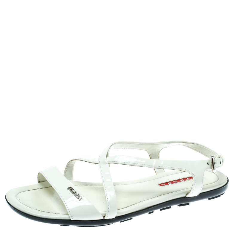 21e359a02 ... Prada Sport White Patent Leather Flat Sandals Size 35.5. nextprev.  prevnext