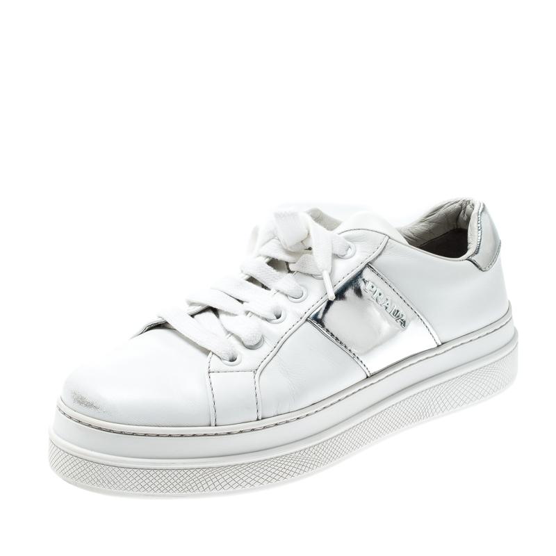 Prada Sport White Metallic Silver/White