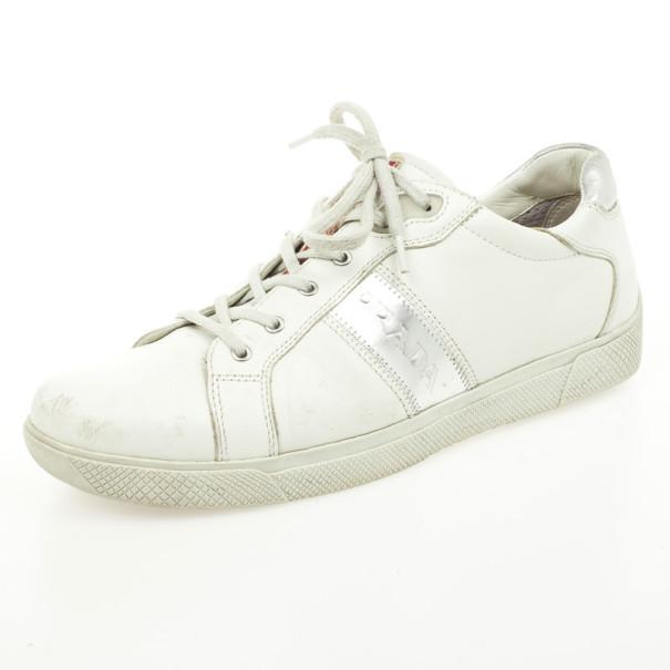 Prada Sport White Leather Sneakers Size 39.5