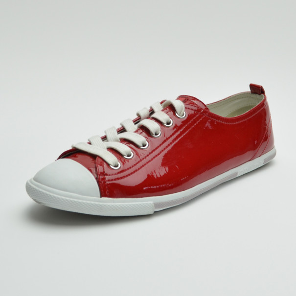 ed91bef70a2 Buy Prada Sport Red Patent Leather Cap Toe Sneakers Size 40 36024 at ...