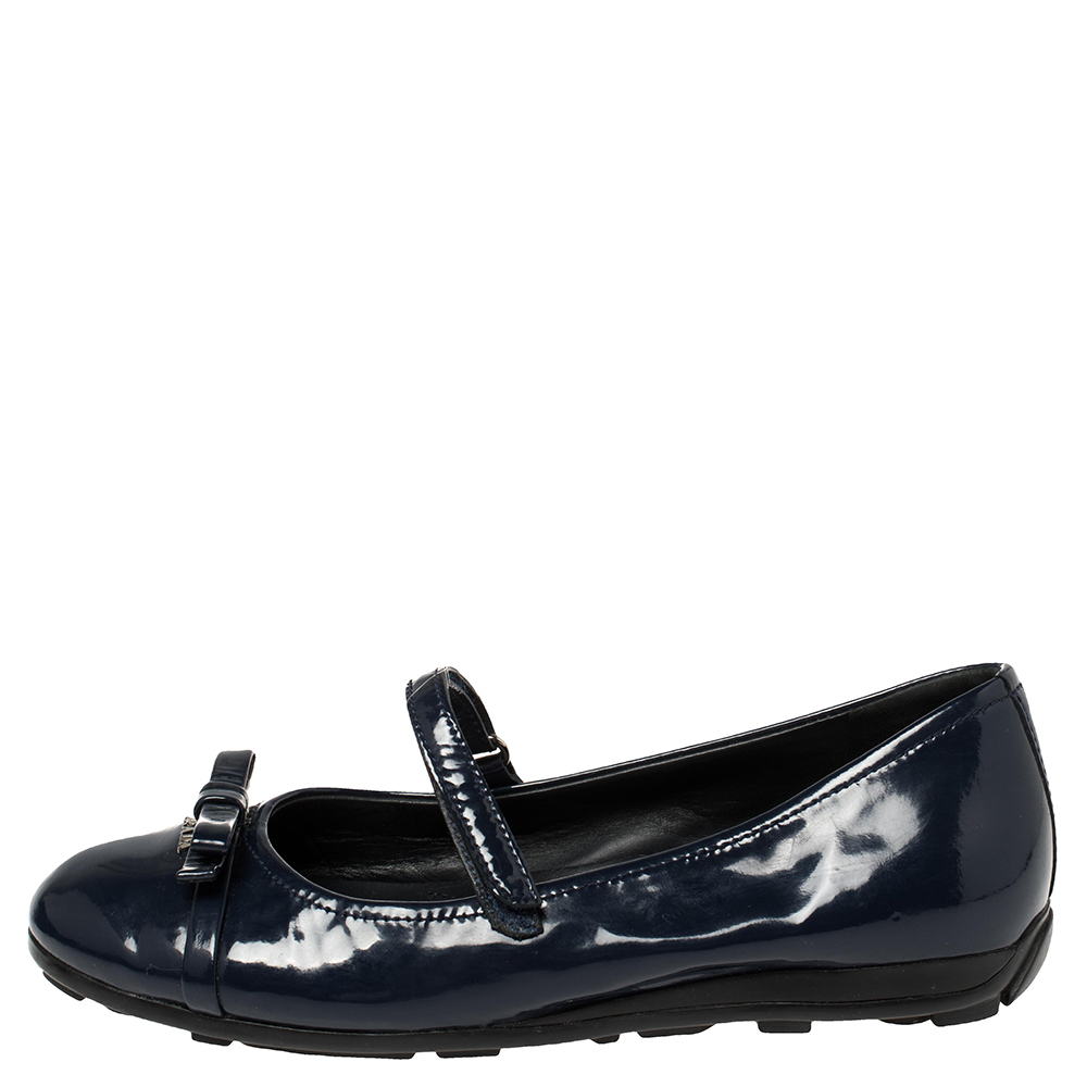 Prada Sport Blue Patent Leather Mary Jane Bow Ballet Flats Size 35