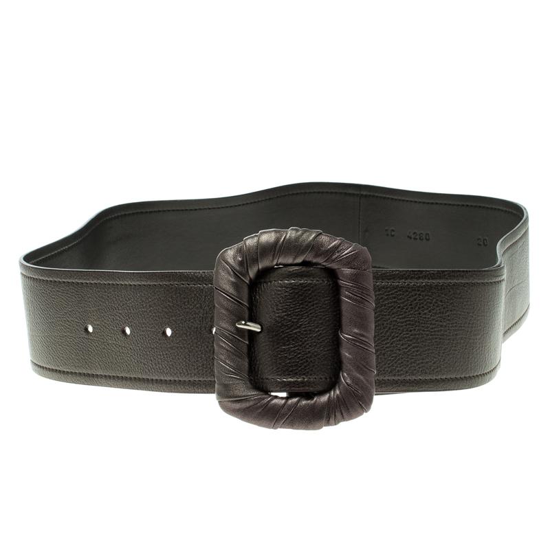 6410cc60f610 ... Prada Metallic Grey Leather Waist Belt 80 CM. nextprev. prevnext