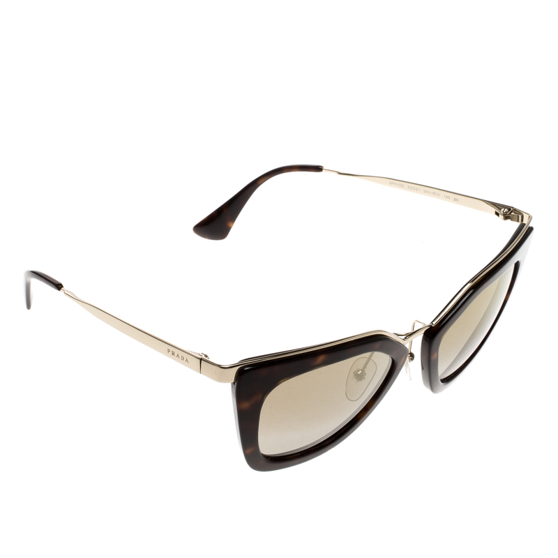 ffa88696aef Buy Prada Dark Brown Havana Gold SPR 53S Butterfly Sunglasses 127899 ...