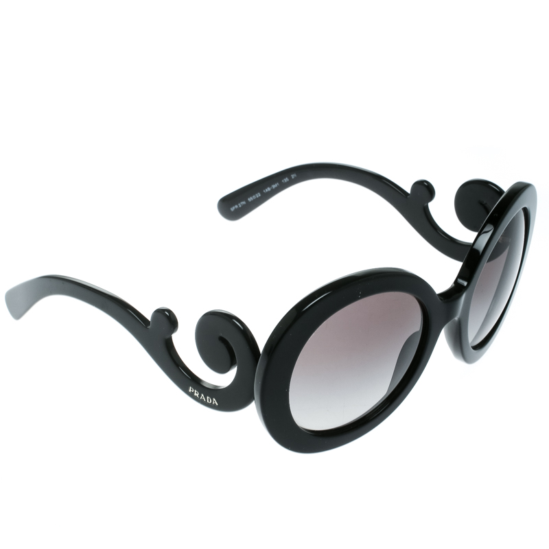 41c873687f3 ... Prada Black Grey Gradient SPR27N Oversized Round Baroque Sunglasses.  nextprev. prevnext