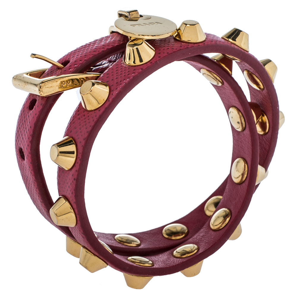 Prada Peonia Saffiano Leather Studded Gold Tone Double Wrap Bracelet M, Pink  - buy with discount