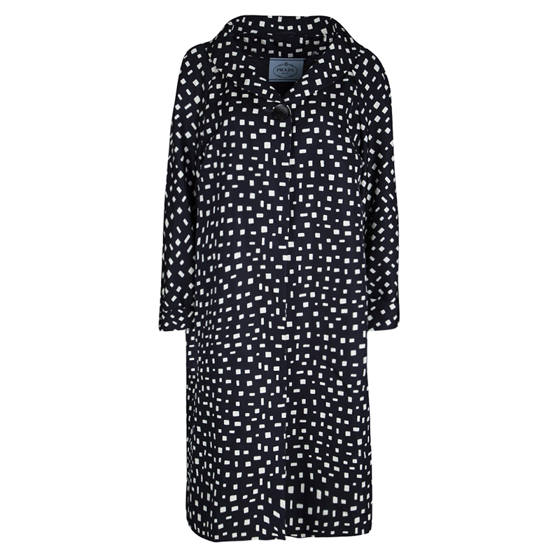 9943a4de1936a6 Buy Prada Navy Blue and White Printed Silk Overcoat L 115223 at best ...