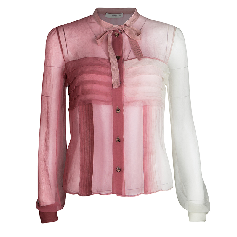 78199ab98e110f Buy Prada SS 04 Pink Ombre Neck Tie Detail Pleated Long Sleeve Silk ...