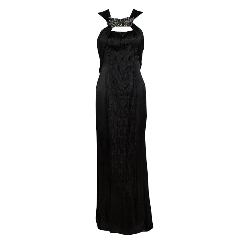 Buy Prada Black Satin Neck Embellished Draped Ruffle Detail ... 537e8a584c