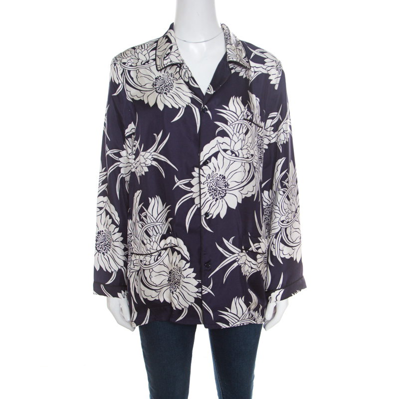 Prada Navy Blue Tropical Floral Printed Silk Button Front Pyjama Shirt XL