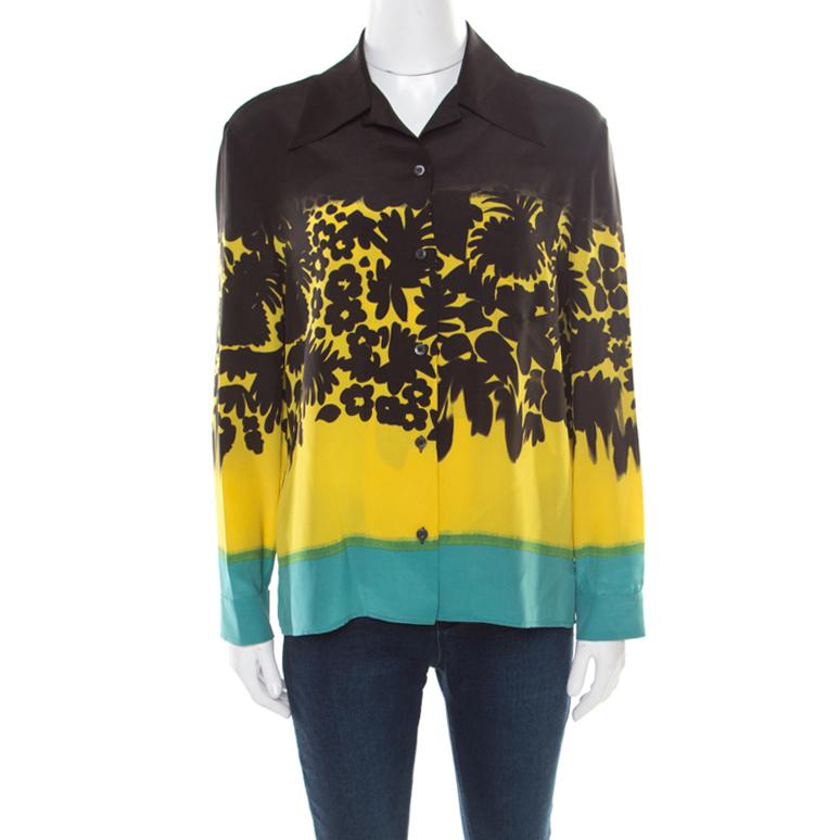 f620f91b5f90b7 ... Prada Multicolor Floral Printed Silk Long Sleeve Shirt M. nextprev.  prevnext