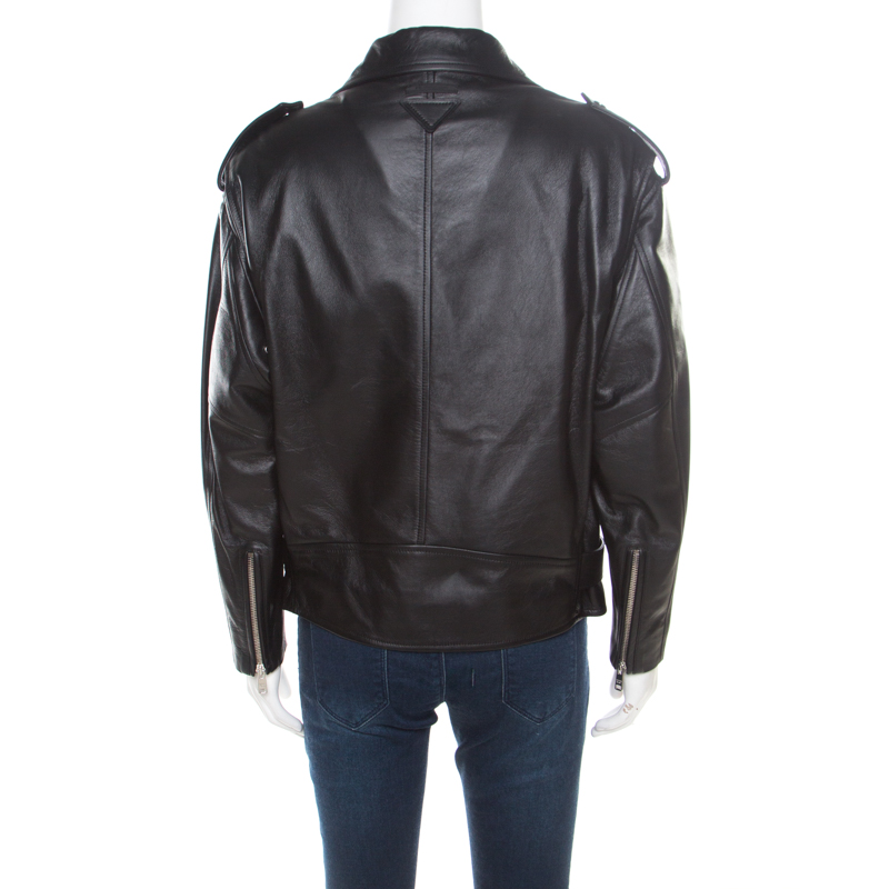 best service 194e2 b87f9 Prada Matte Black Nappa Leather Giacca Biker Jacket S