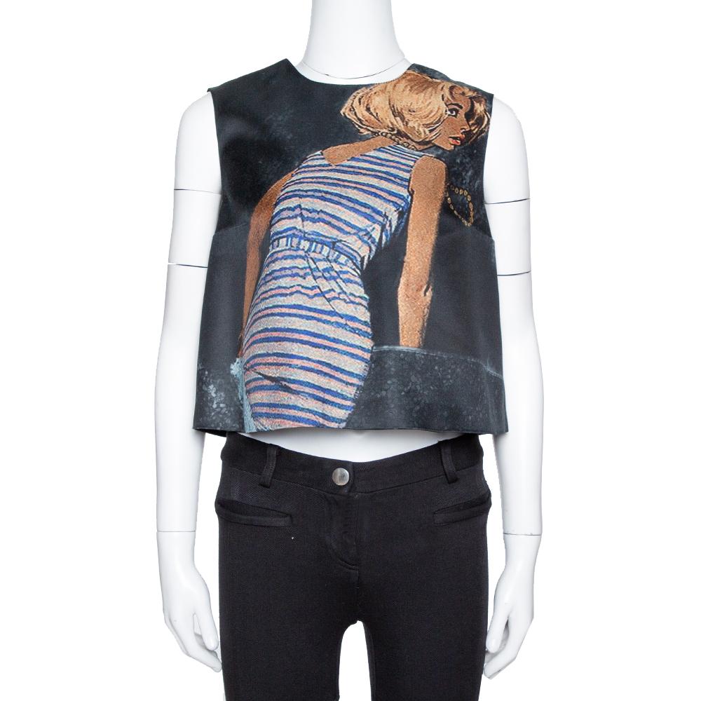 Pre-owned Prada Black Poster Girl Print Wool & Silk Mikado Top S