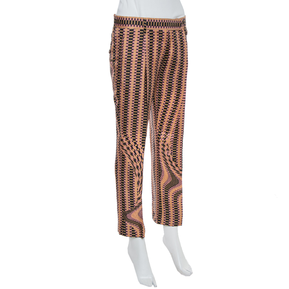 Prada Pink Weave Print Silk Cropped Trousers S  - buy with discount