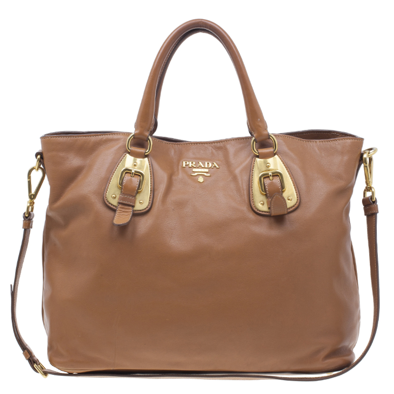0645832f Prada Tan Soft Calf Leather Tote