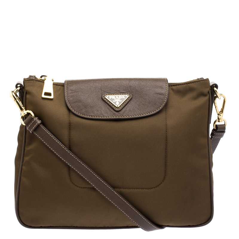 ba2dd6454 Buy Prada Brown Tessuto Saffiano Crossbody Bag 103407 at best price ...