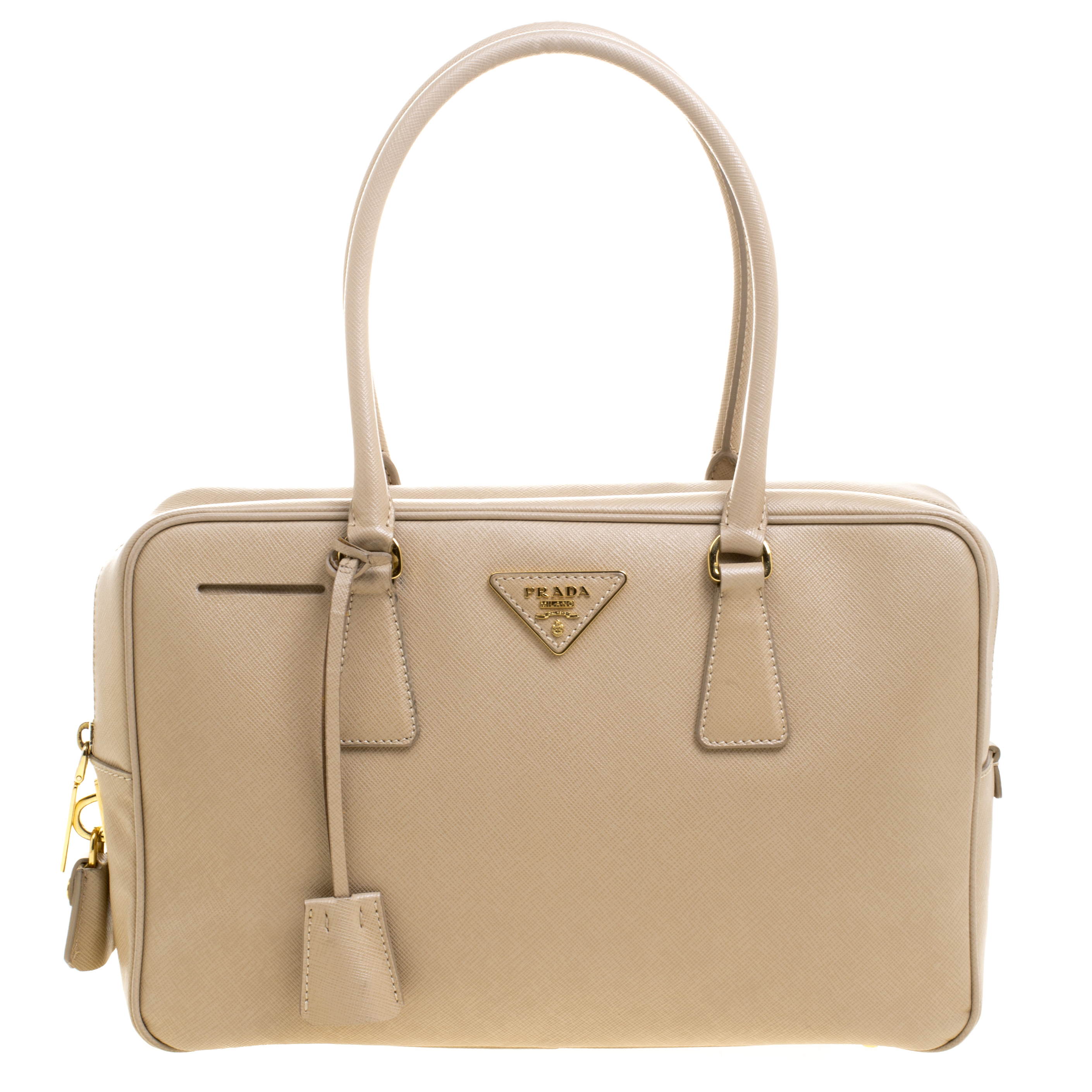 d61a09a4ec854 ... Prada Beige Saffiano Lux Leather Top Handle Bowling Bag. nextprev.  prevnext