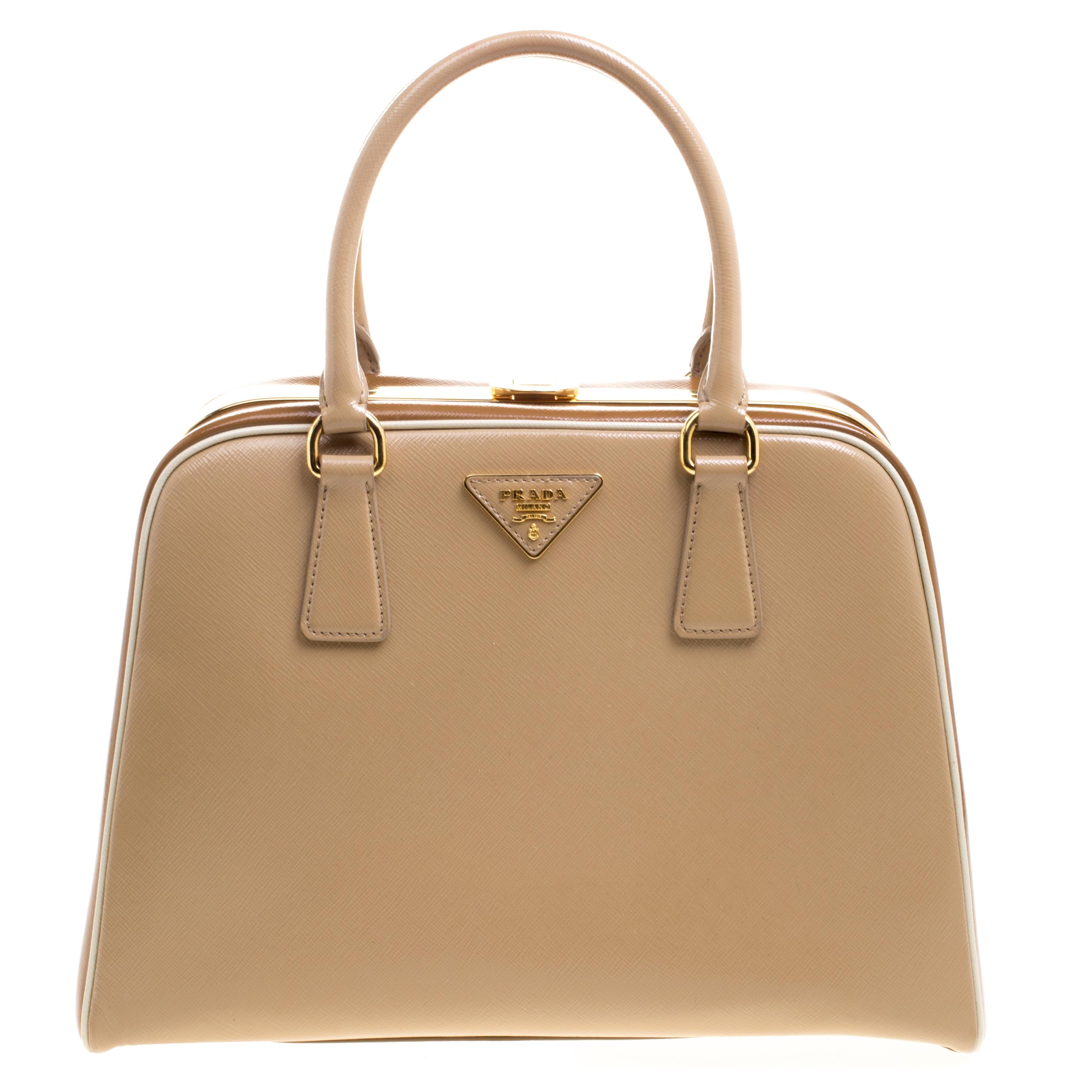 Buy Prada Beige Caramel Patent Leather Pyramid Frame Top Handle Bag ... 0cdc6b9cbb9d1