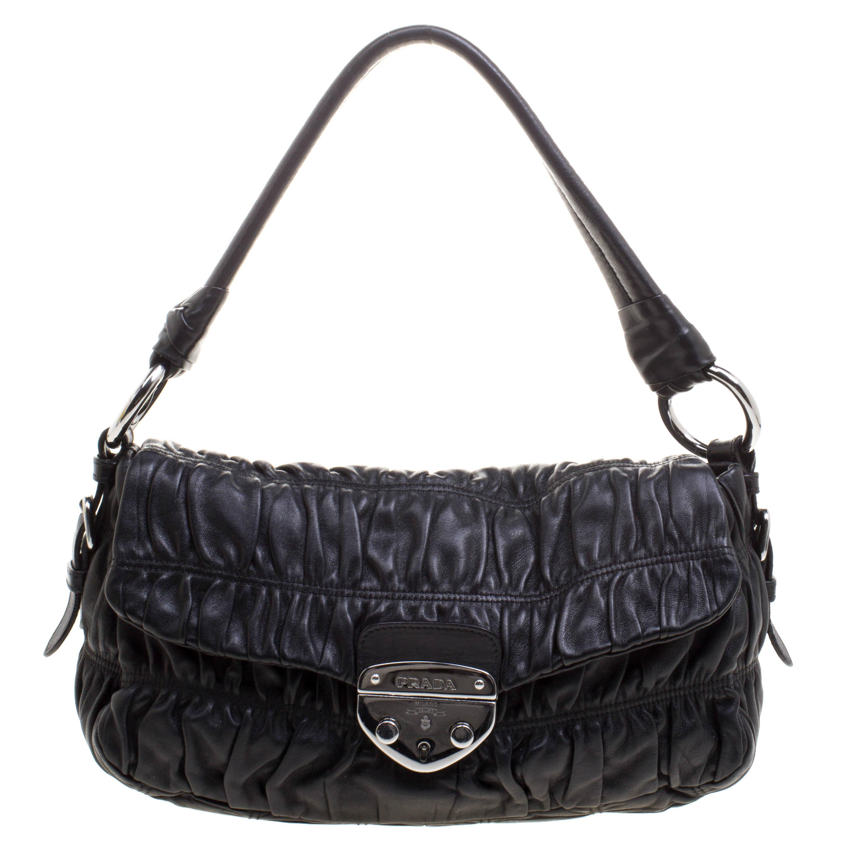 ef9cc50b668cd5 Buy Prada Black Guafre Nappa Leather Shoulder Bag 110423 at best ...