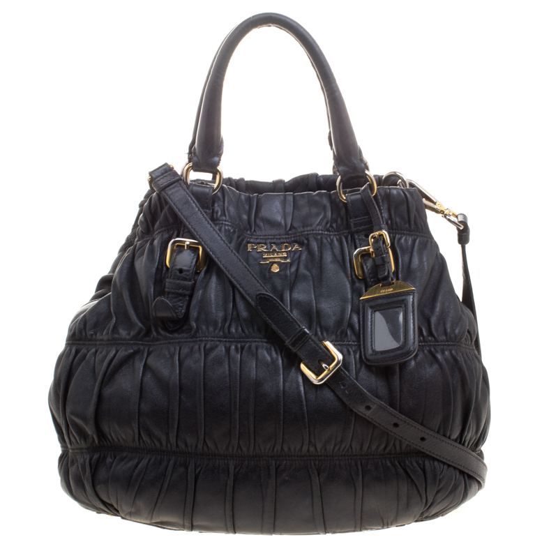 e234bd072092 Buy Prada Black Nappa Gaufre Leather Shopping Tote 111699 at best ...