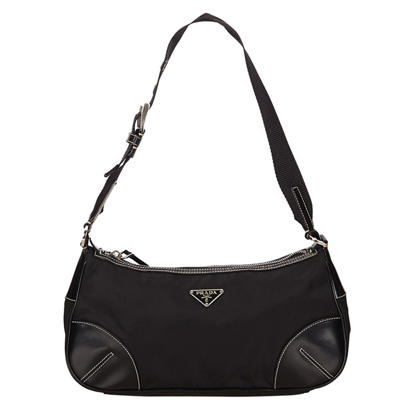 ff953a8106e8 ... Prada Black Tessuto Nylon/Leather Shoulder Bag. nextprev. prevnext