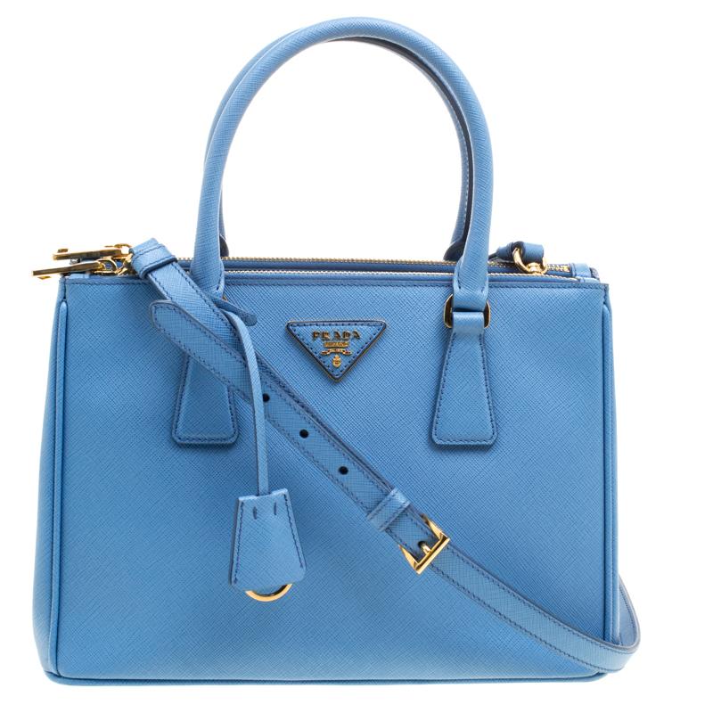 25e8e2b36750 ... Prada Blue Saffiano Lux Leather Small Double Zip Tote. nextprev.  prevnext