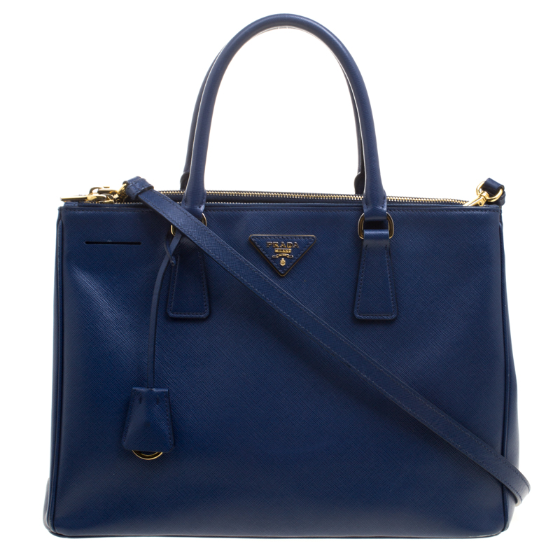 8bf52456 Prada Navy Blue Saffiano Lux Leather Medium Double Zip Tote
