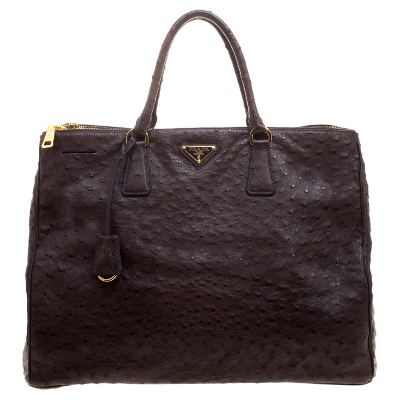 b23a3721247 ... Prada Brown Ostrich Leather Executive Double Zip Tote. nextprev.  prevnext