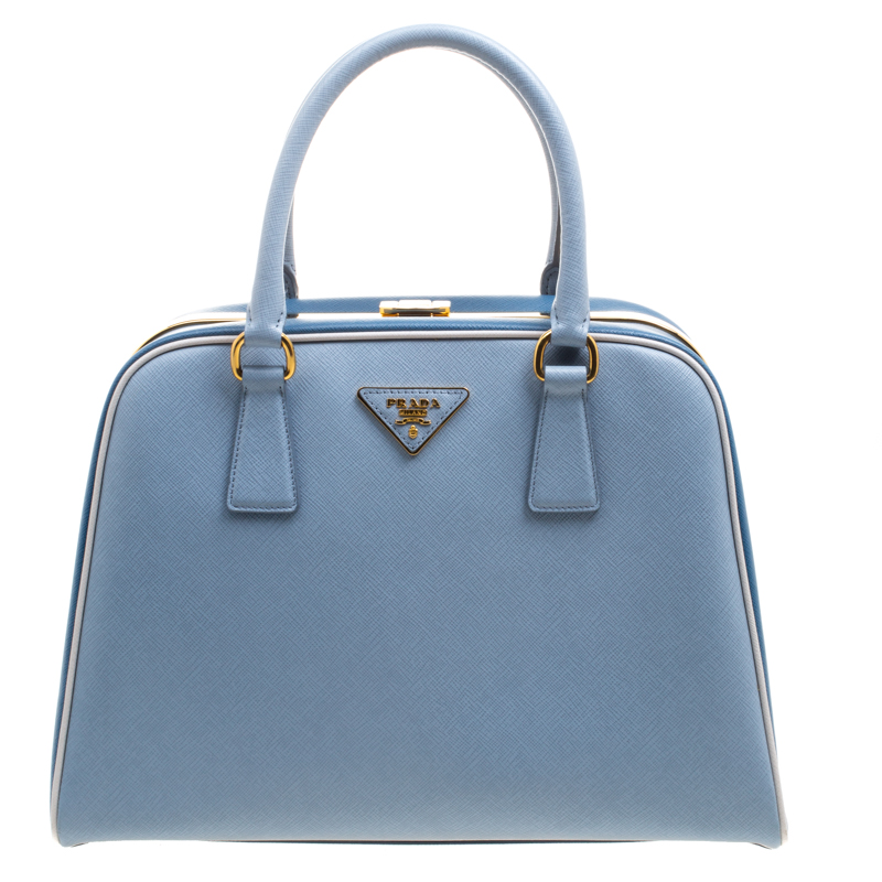 f0e0d32d19fd ... buy prada two tone blue saffiano leather frame top handle bag. nextprev.  prevnext 8a8f1 ...