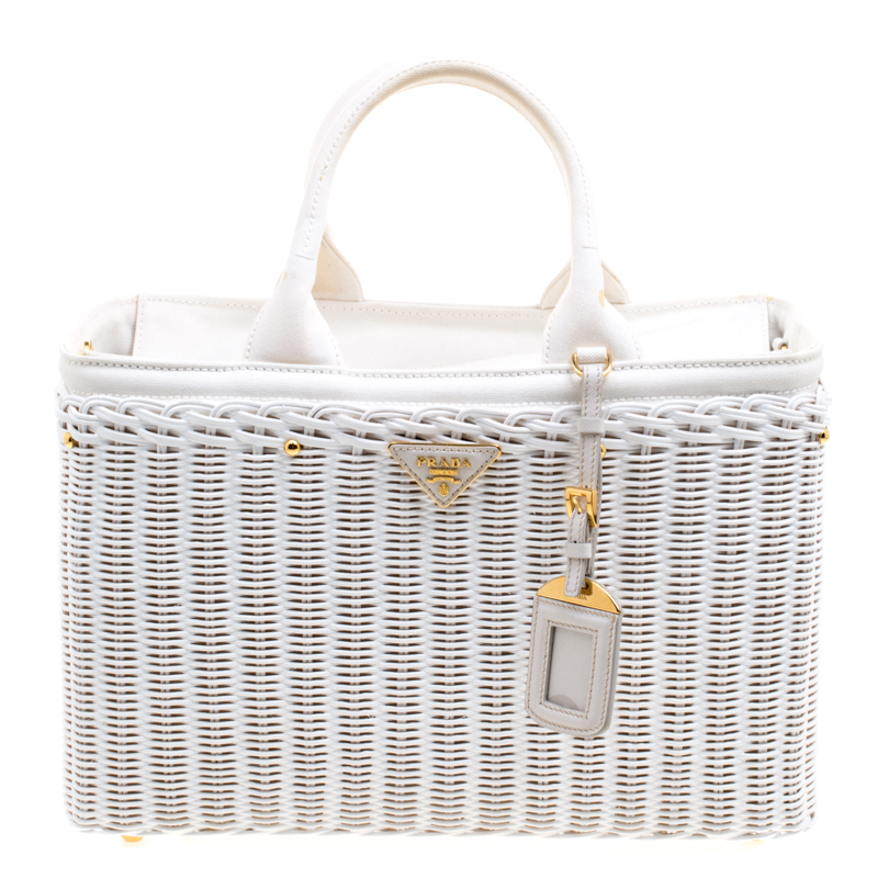 efbcc0a1bd33 ... Prada White Midollino and Canvas Large Wicker Shopping Tote. nextprev.  prevnext