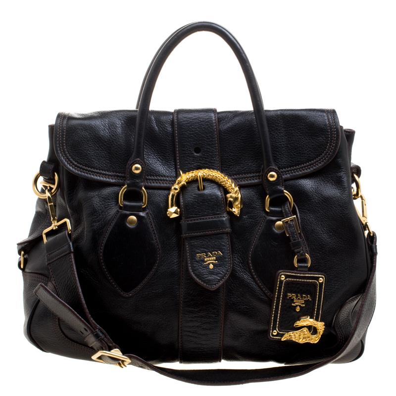 e14664798641 Buy Prada Black Deerskin Leather Dragon Satchel 118375 at best price ...