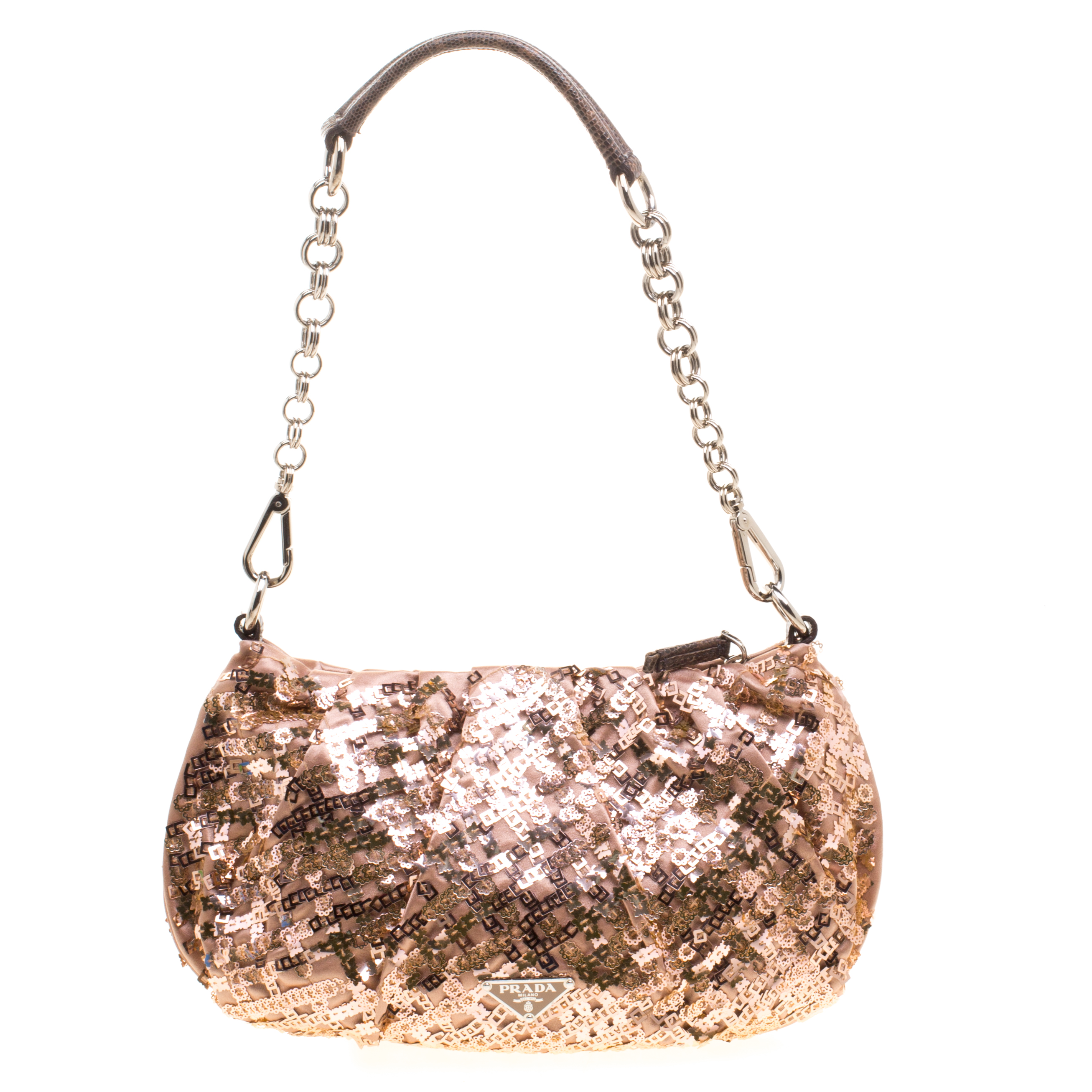 Prada Blush Pink Bronze Satin Sequin