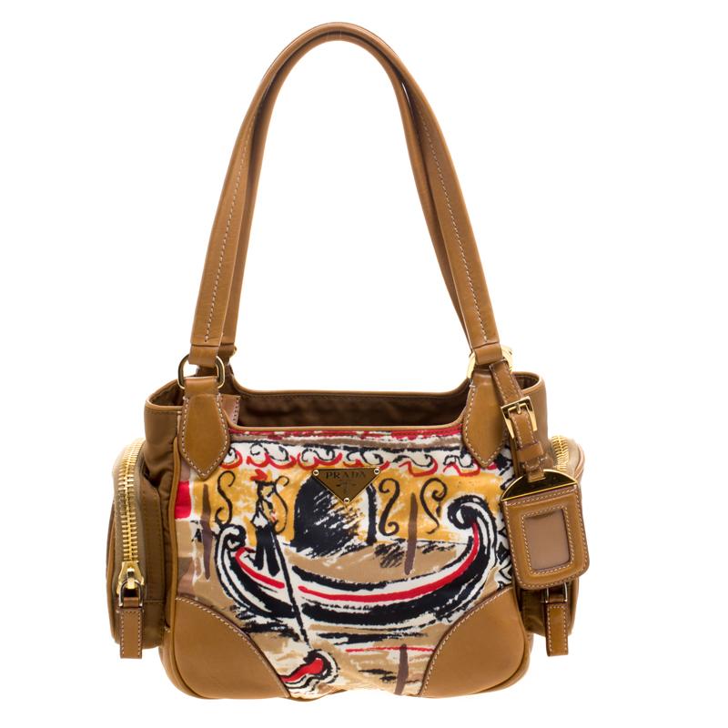 6f34709afbeb Prada Brown Leather And Printed Nylon Side Pocket Shoulder Bag