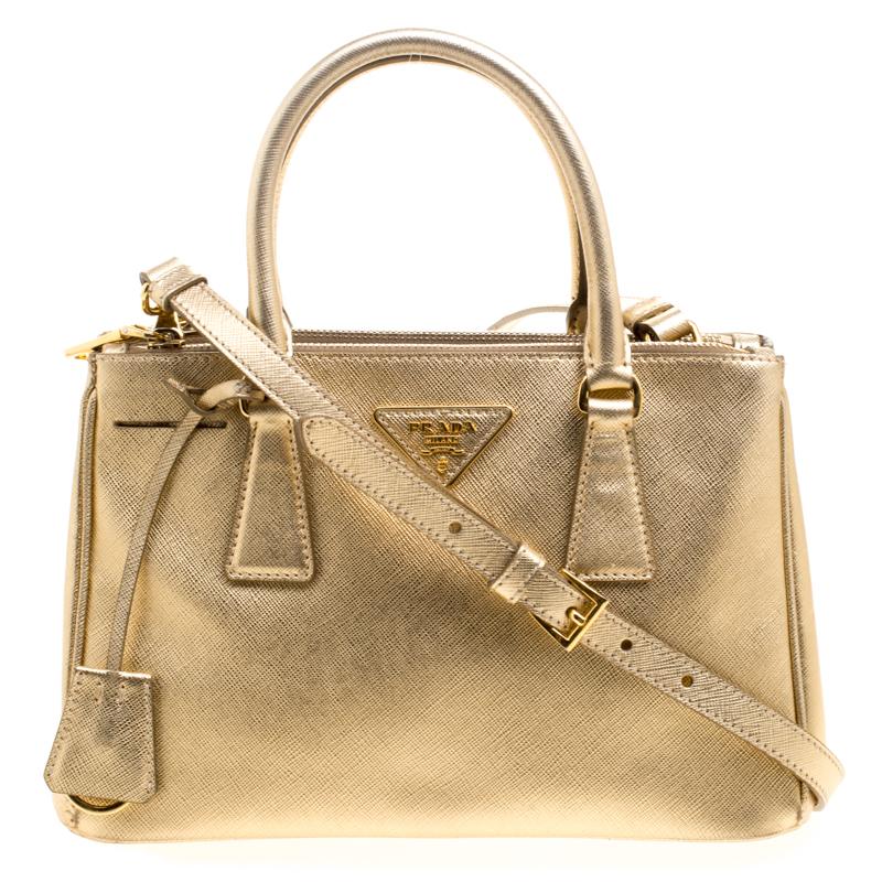 6e9d29451a5d ... Prada Gold Saffiano Lux Leather Mini Double Zip Tote. nextprev. prevnext