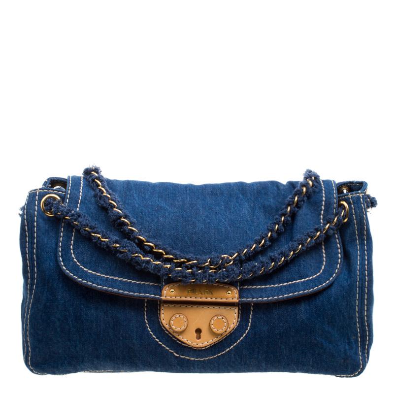 7bd0e8e948f8 Buy Prada Blue Denim Shoulder Bag 118726 at best price   TLC