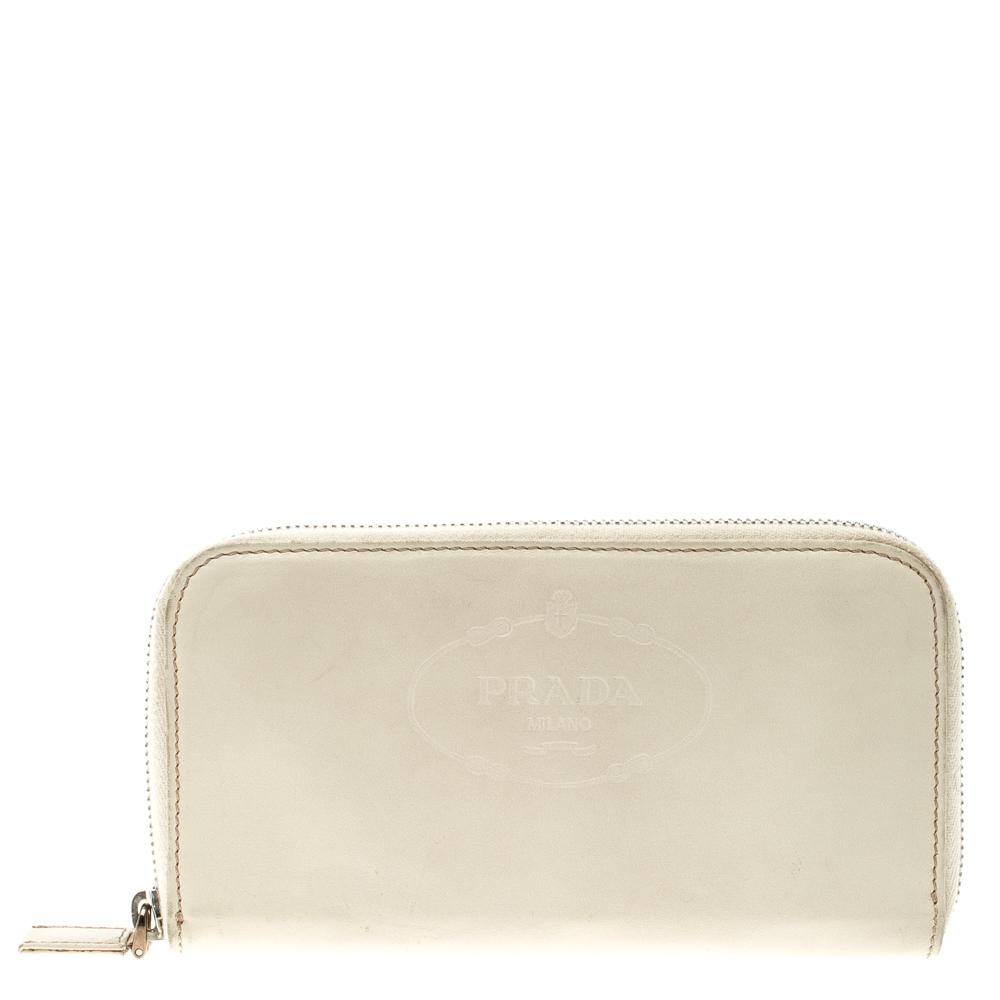 8b9de924b8 ... Prada White Vitello Print Leather Zip Around Wallet. nextprev. prevnext