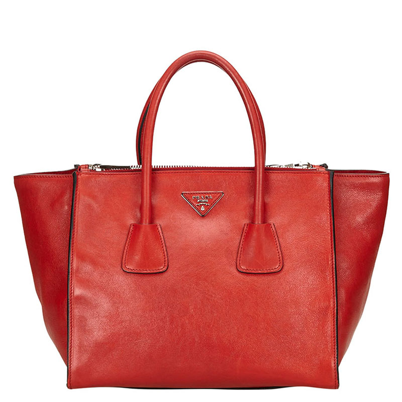 693e268d8cb6 Buy Prada Red Leather Double Handle Tote 119017 at best price   TLC