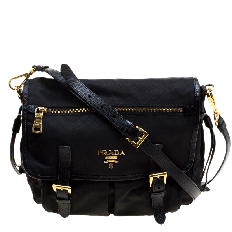 67e5d8a5a9b7 Buy Prada Black Nylon and Leather Crossbody Bag 120221 at best price ...