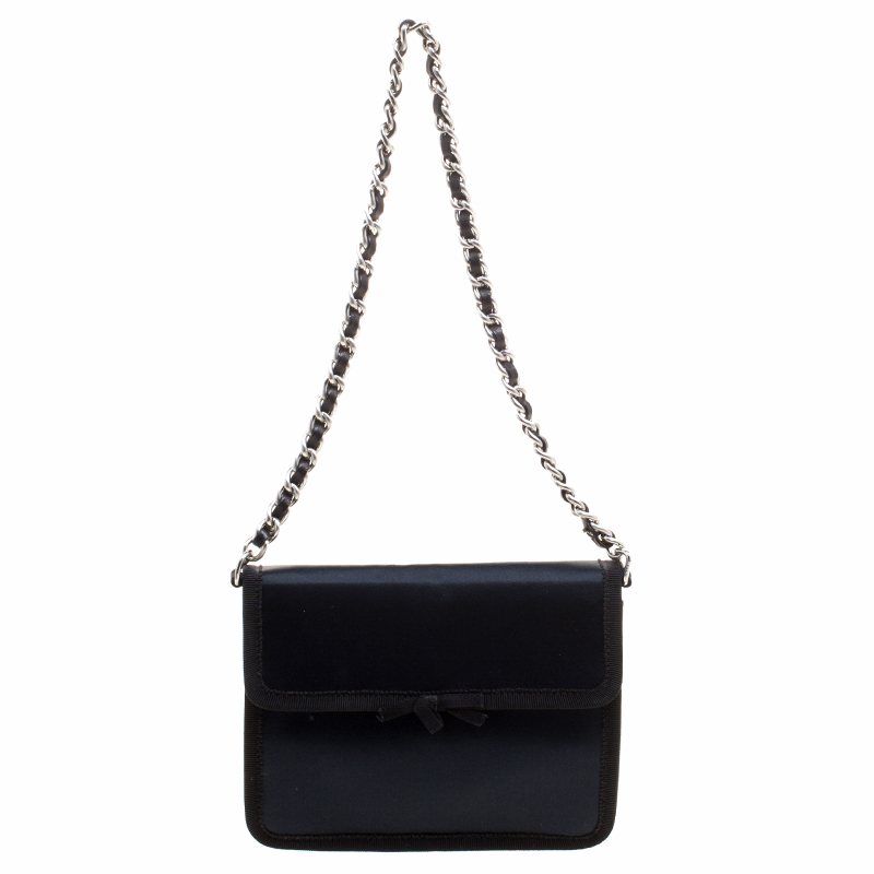 5f71f999fd Buy Prada Navy Blue Satin Chain Clutch 120679 at best price