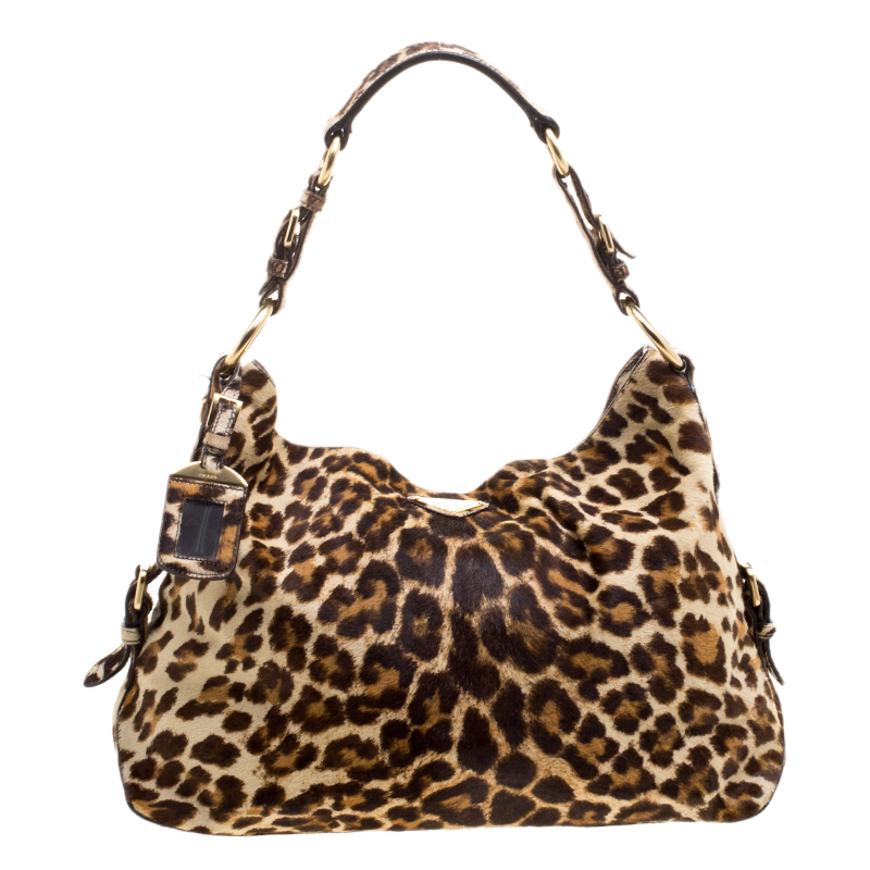 7ae2dfd9da87 Buy Prada Brown Leopard Print Calf Hair Hobo 121220 at best price