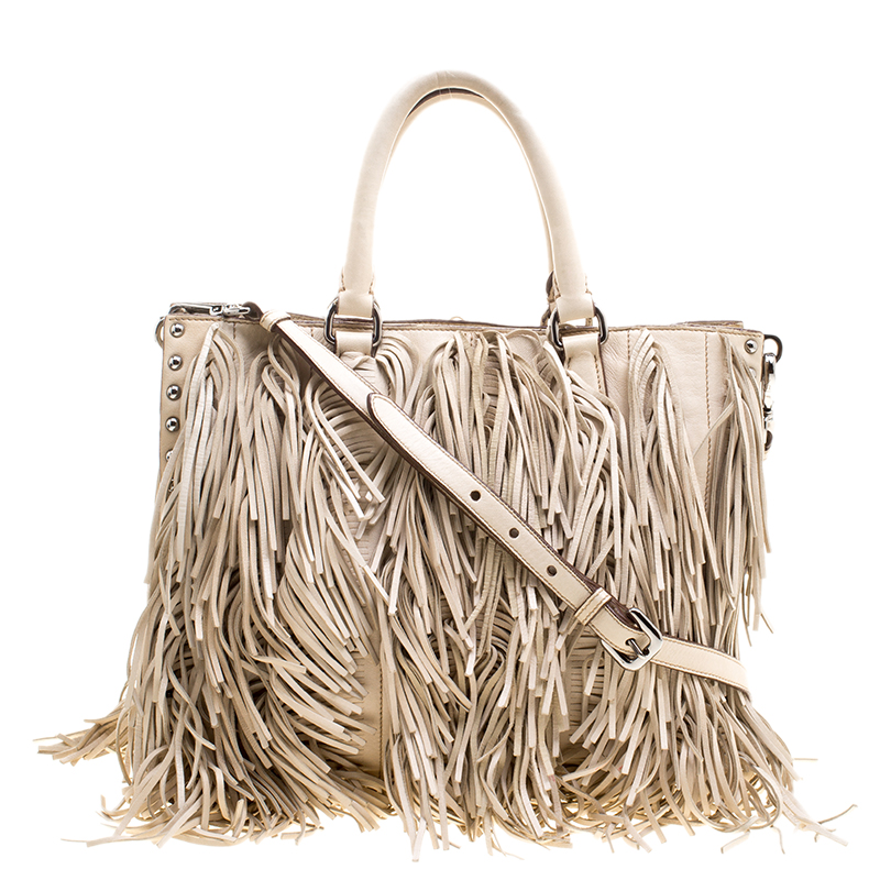 95437a5089d4 Buy Prada Beige Leather Fringe Tote 126043 at best price | TLC