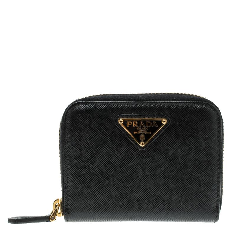 0843717a5b9b ... Prada Black Saffiano Leather Zip Around Compact Wallet. nextprev.  prevnext
