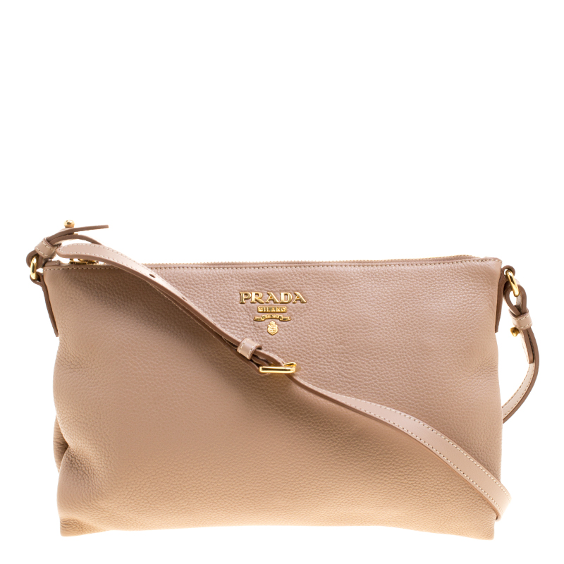 a751341d40b3 Buy Prada Beige Leather Flat Crossbody Bag 126771 at best price