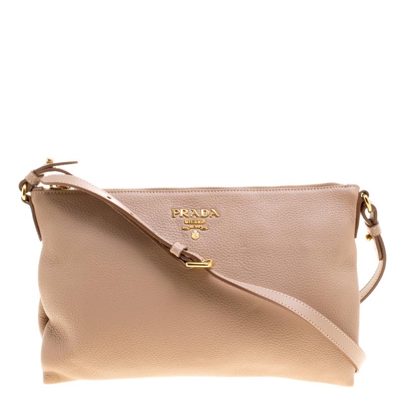 c1a494bd5e00 Buy Prada Beige Leather Flat Crossbody Bag 126771 at best price | TLC