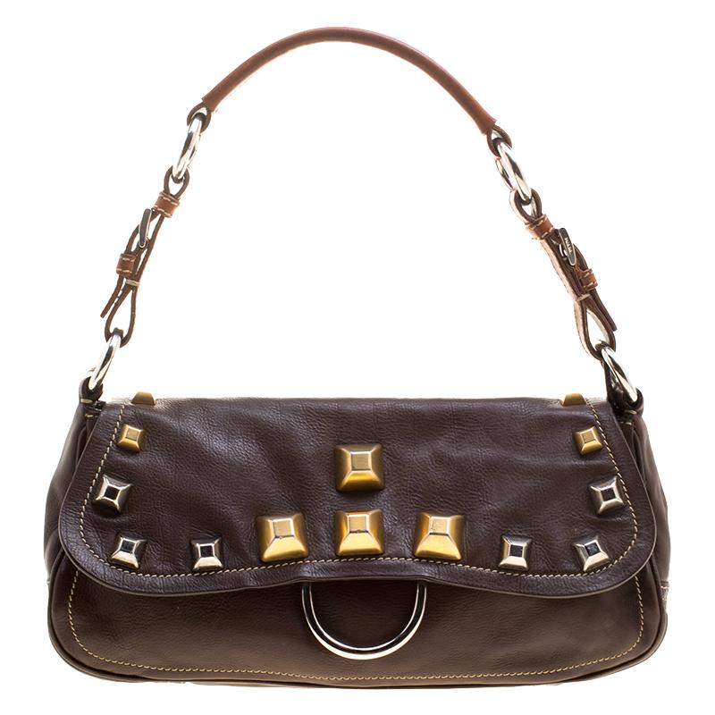 0c9ef2ebbaa4 Buy Prada Brown Leather Studded Shoulder Bag 127355 at best price | TLC