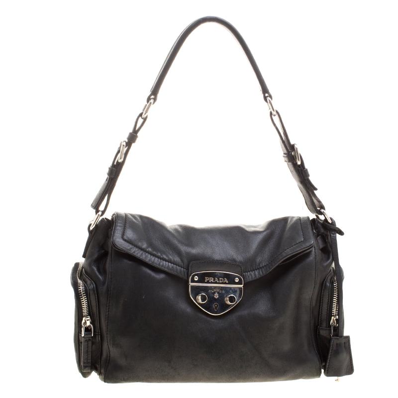 a9ff37416368 ... Prada Black Leather Antic Easy Pushlock Shoulder Bag. nextprev. prevnext