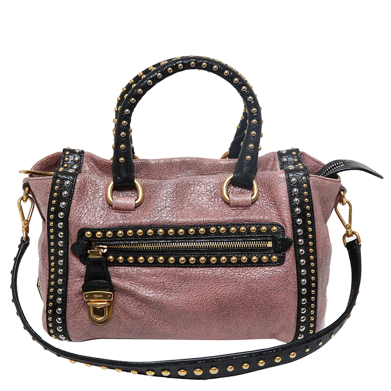 Buy Prada Talco Craquele Leather Studded Bauletto Satchel Bag 128766 ... b8c957153647f