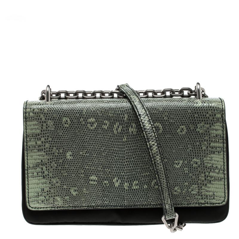 41547197 Prada Green Green/Black Nylon and Lizard Shoulder Bag