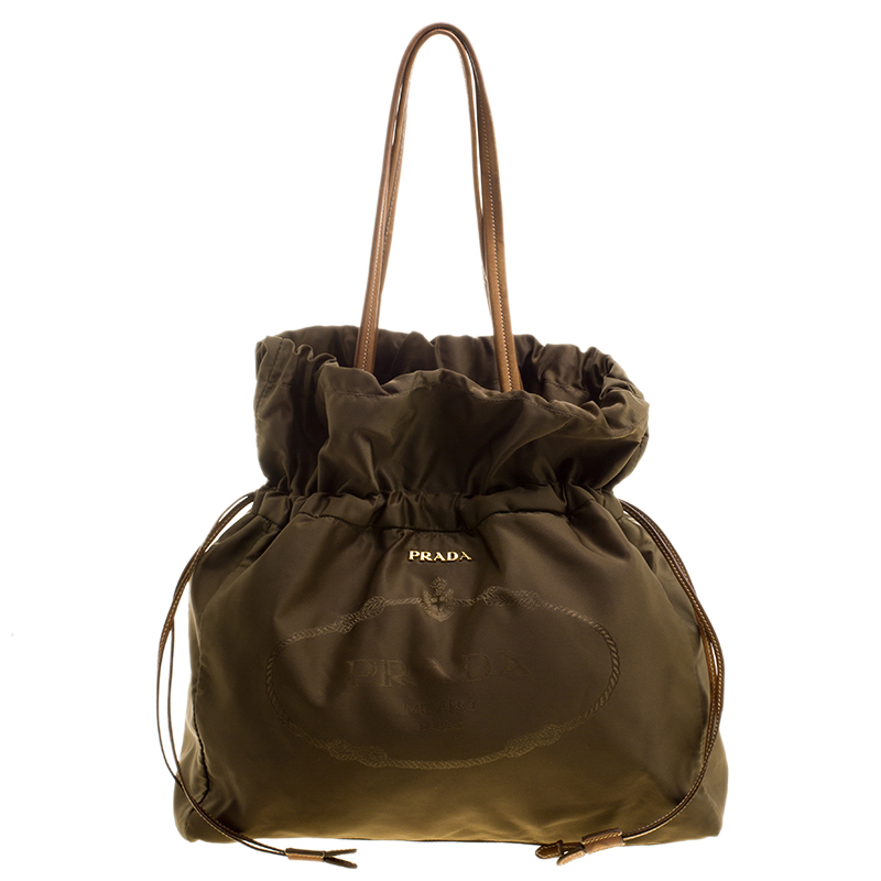 a7f88e5298 Buy Prada Khaki Nylon Drawstring Tote 129178 at best price