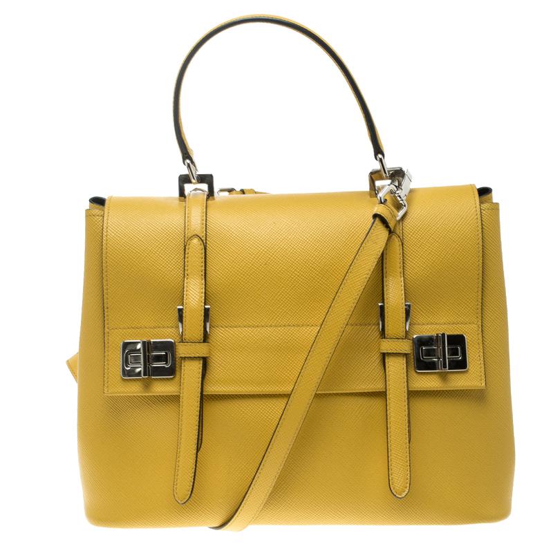 038b34136dc359 ... Prada Yellow Saffiano Cuir Leather Double Turn Lock Satchel. nextprev.  prevnext